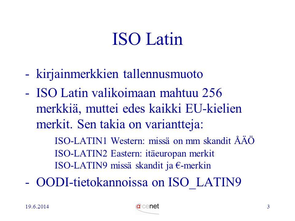 ISO Latin kirjainmerkkien tallennusmuoto