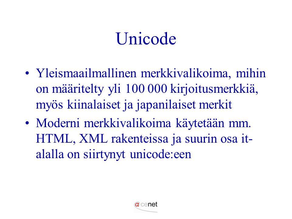 Unicode Yleismaailmallinen merkkivalikoima, mihin on määritelty yli 100 000 kirjoitusmerkkiä, myös kiinalaiset ja japanilaiset merkit.