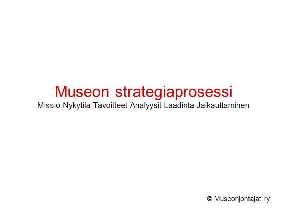 Museon strategiaprosessi Missio-Nykytila-Tavoitteet-Analyysit-Laadinta-Jalkauttaminen