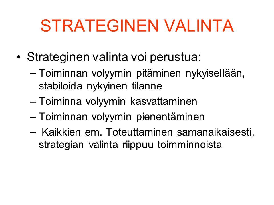 STRATEGINEN VALINTA Strateginen valinta voi perustua:
