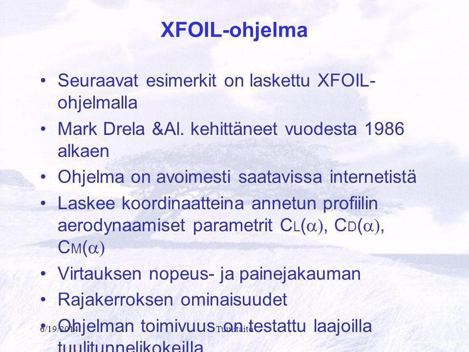 XFOIL-ohjelma Seuraavat esimerkit on laskettu XFOIL-ohjelmalla
