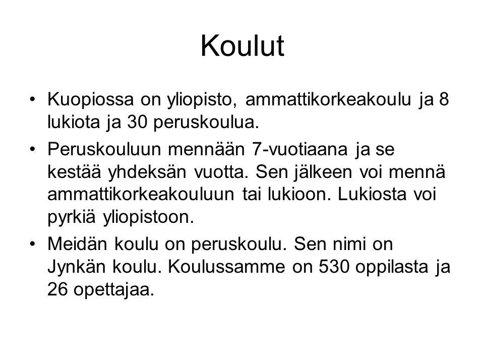 Koulut Kuopiossa on yliopisto, ammattikorkeakoulu ja 8 lukiota ja 30 peruskoulua.