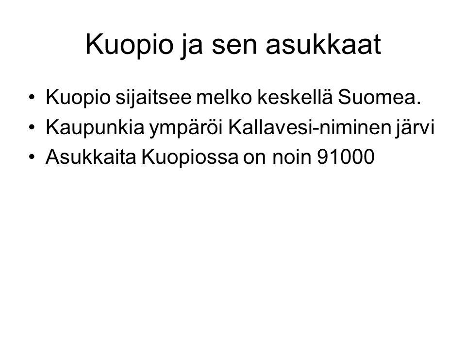 Kuopio ja sen asukkaat Kuopio sijaitsee melko keskellä Suomea.