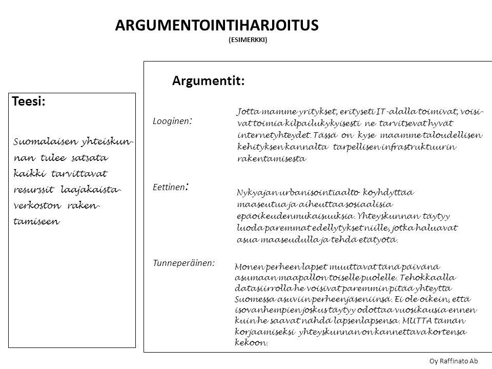 ARGUMENTOINTIHARJOITUS