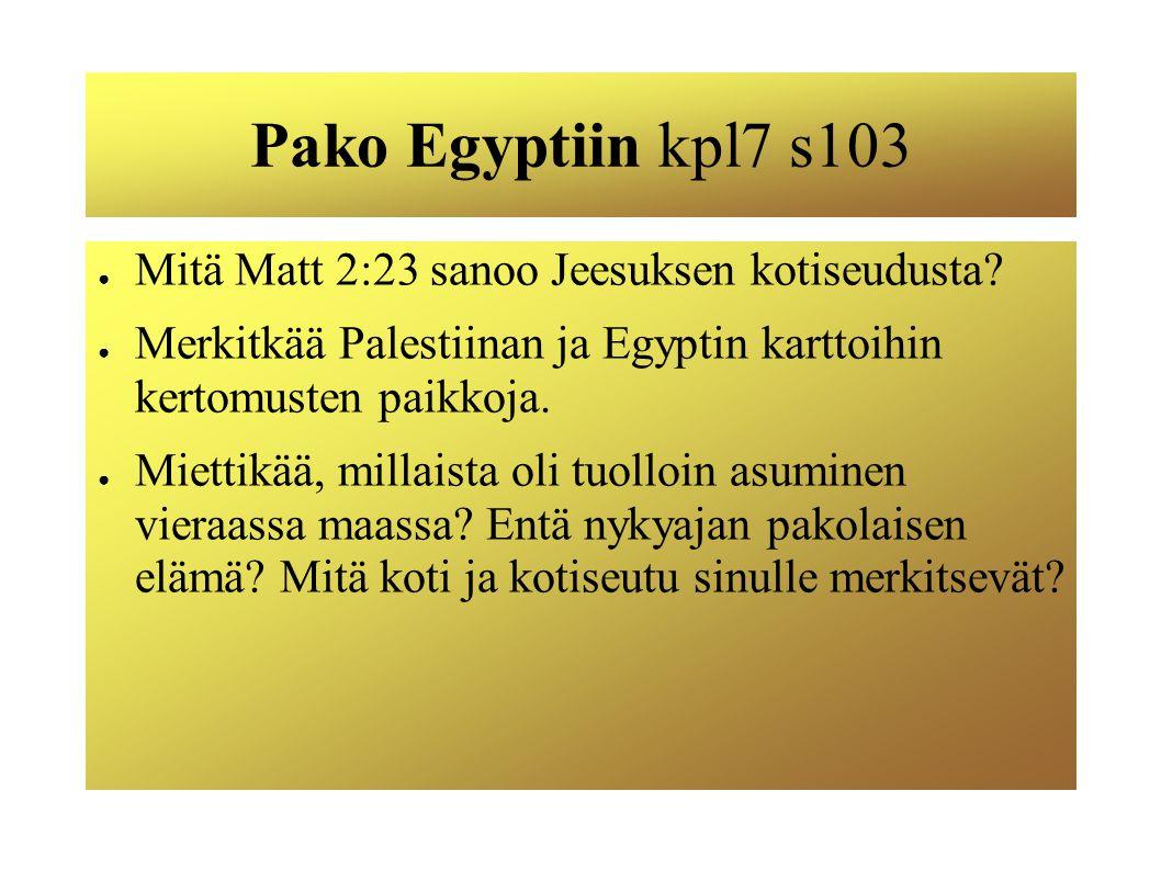 Pako Egyptiin kpl7 s103 Mitä Matt 2:23 sanoo Jeesuksen kotiseudusta