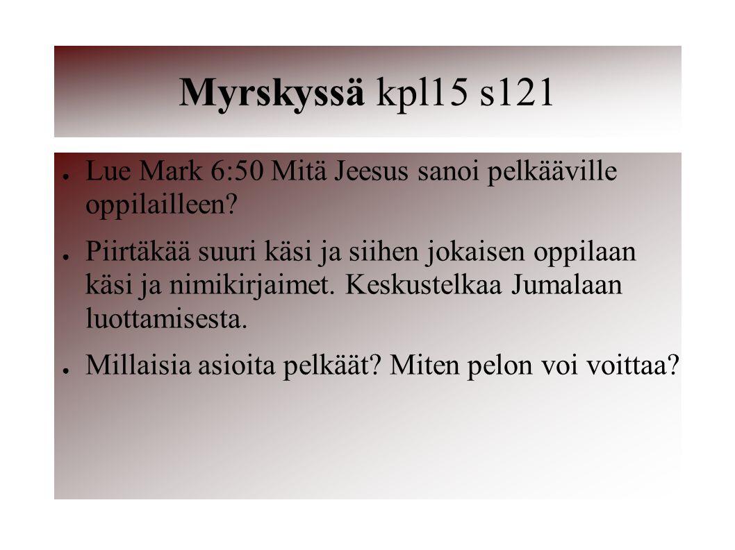 Myrskyssä kpl15 s121 Lue Mark 6:50 Mitä Jeesus sanoi pelkääville oppilailleen
