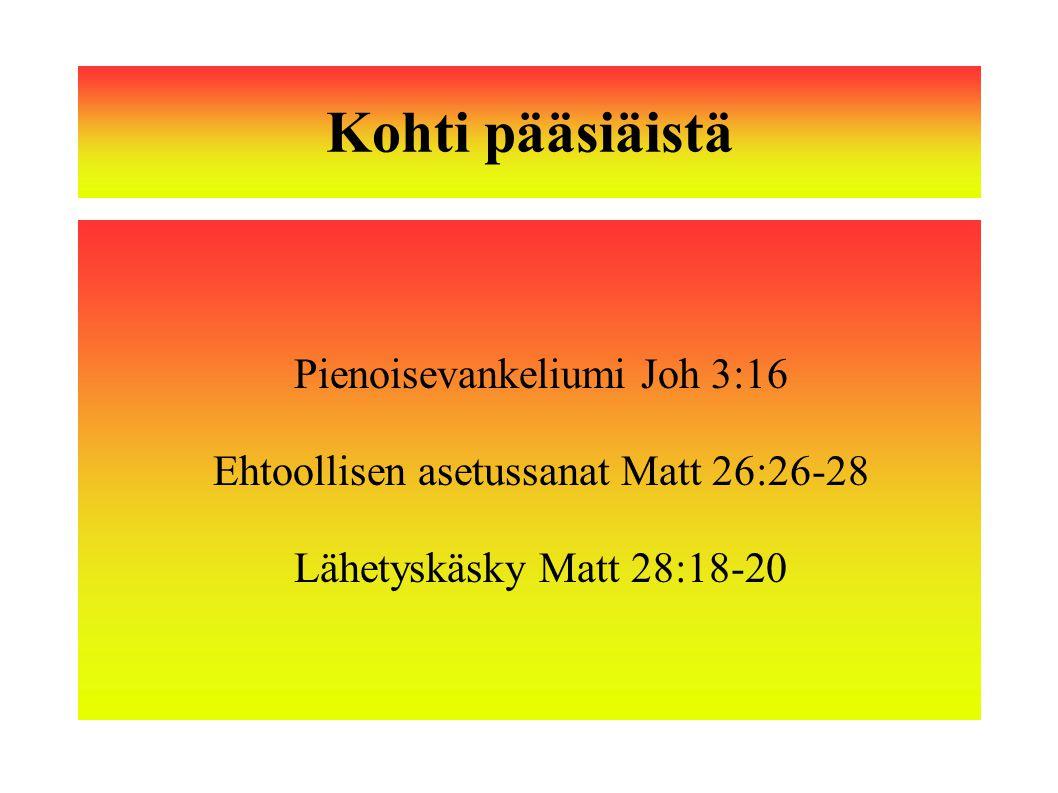 Kohti pääsiäistä Pienoisevankeliumi Joh 3:16