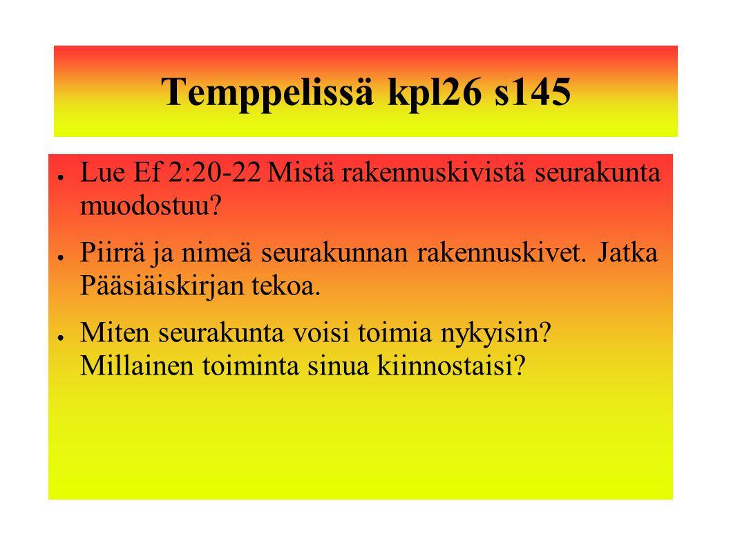 Temppelissä kpl26 s145 Lue Ef 2:20-22 Mistä rakennuskivistä seurakunta muodostuu