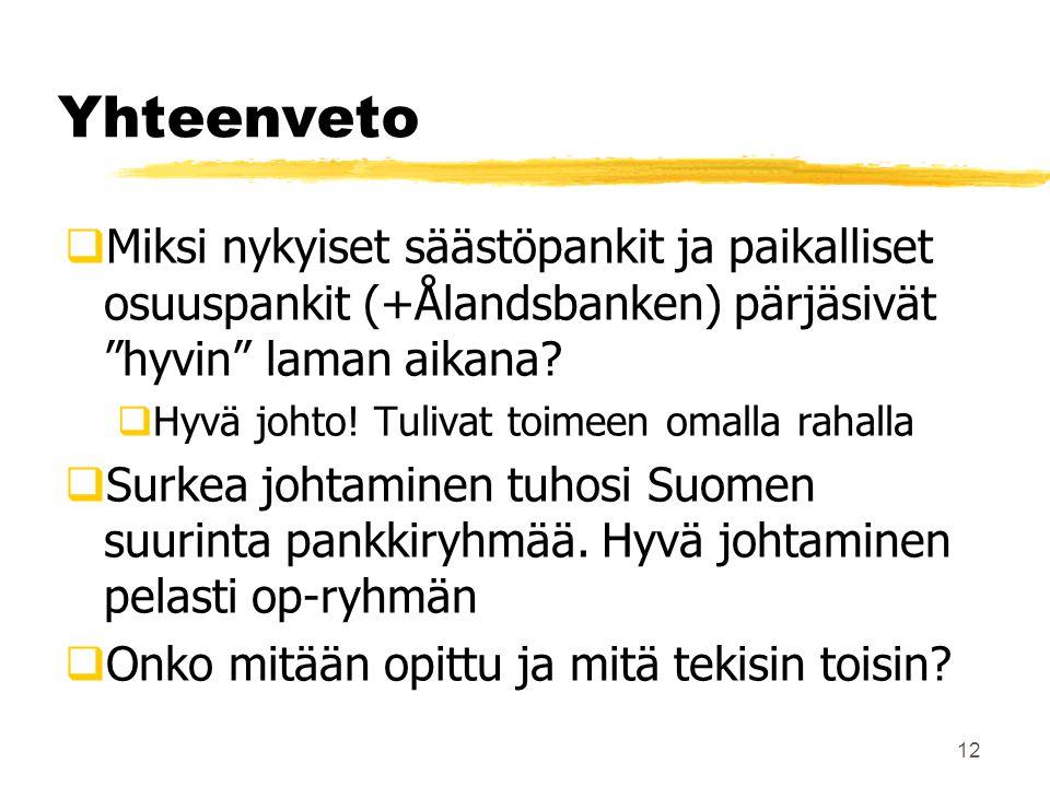 Yhteenveto Miksi nykyiset säästöpankit ja paikalliset osuuspankit (+Ålandsbanken) pärjäsivät hyvin laman aikana