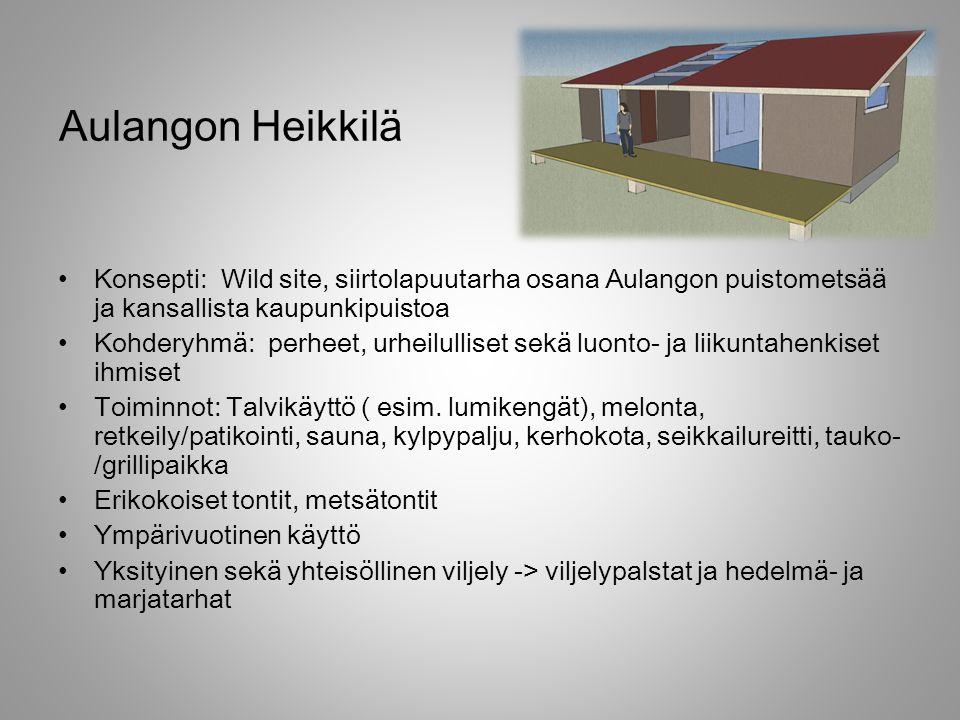 Aulangon Heikkilä Konsepti: Wild site, siirtolapuutarha osana Aulangon puistometsää ja kansallista kaupunkipuistoa.