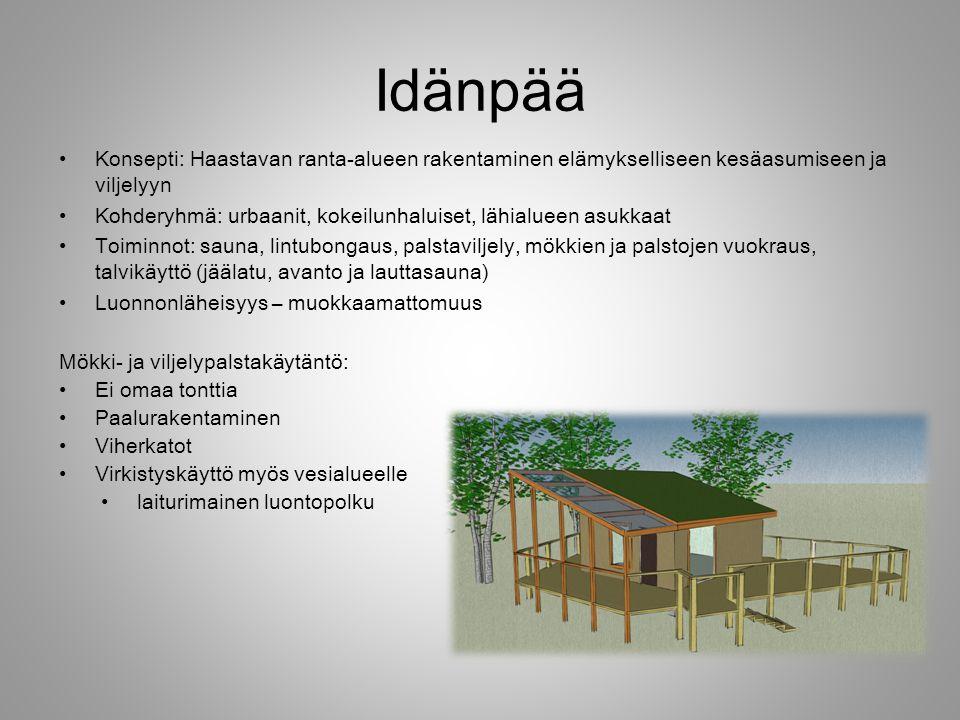 Idänpää Konsepti: Haastavan ranta-alueen rakentaminen elämykselliseen kesäasumiseen ja viljelyyn.
