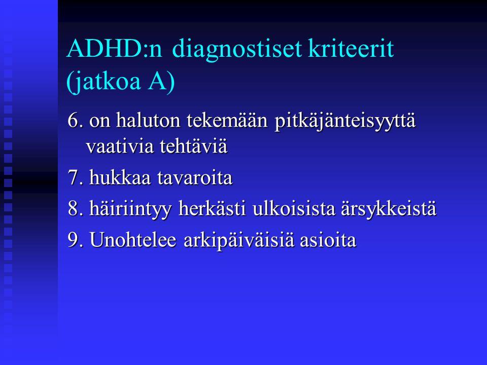 ADHD:n diagnostiset kriteerit (jatkoa A)