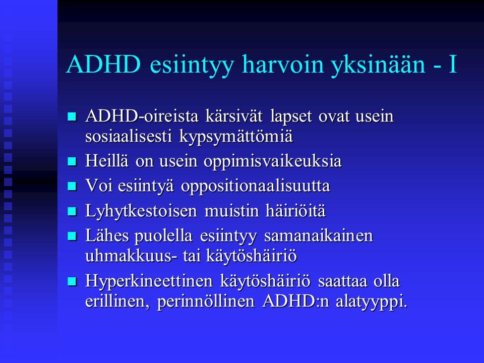 ADHD esiintyy harvoin yksinään - I