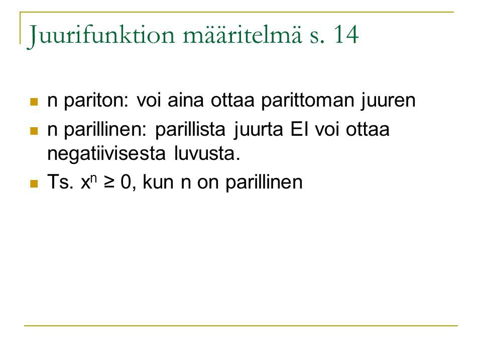 Juurifunktion määritelmä s. 14