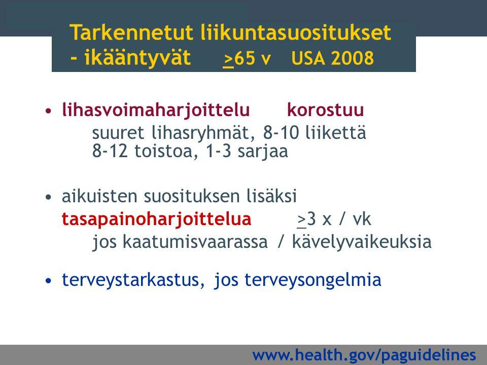 Tarkennetut liikuntasuositukset - ikääntyvät >65 v USA 2008