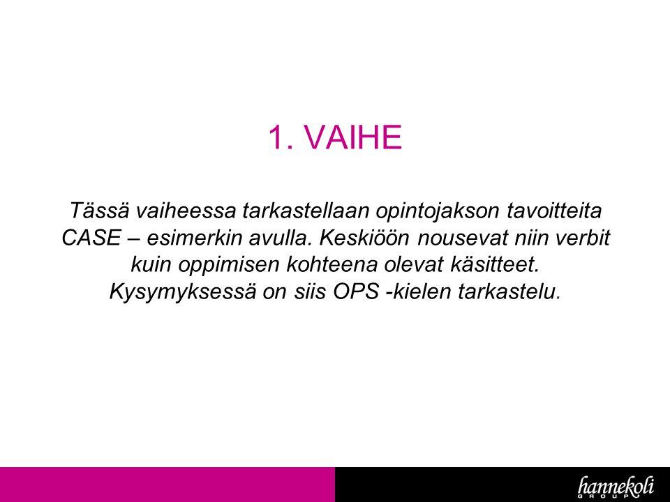 1. VAIHE Tässä vaiheessa tarkastellaan opintojakson tavoitteita CASE – esimerkin avulla.