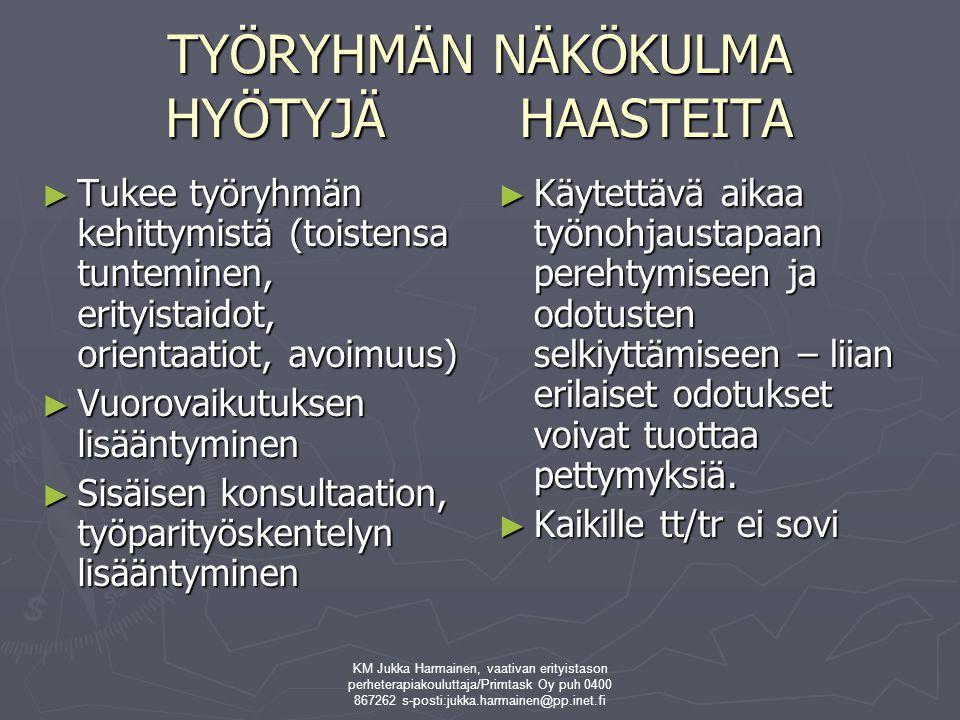 TYÖRYHMÄN NÄKÖKULMA HYÖTYJÄ HAASTEITA