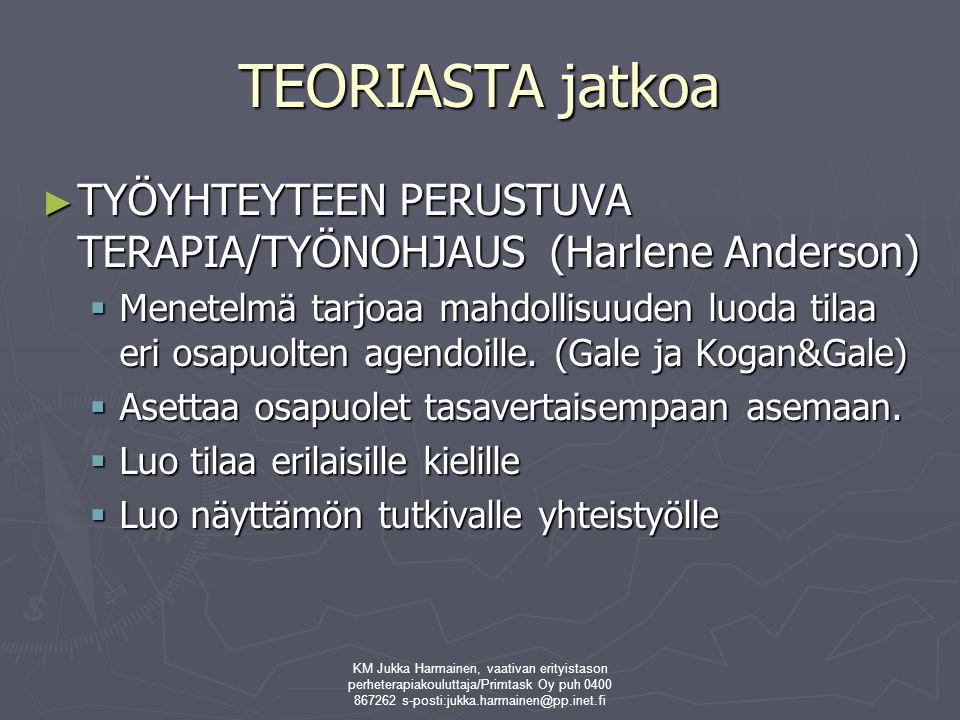 TEORIASTA jatkoa TYÖYHTEYTEEN PERUSTUVA TERAPIA/TYÖNOHJAUS (Harlene Anderson)