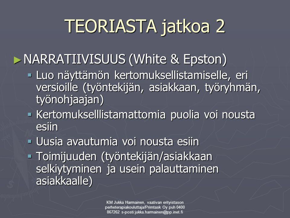 TEORIASTA jatkoa 2 NARRATIIVISUUS (White & Epston)