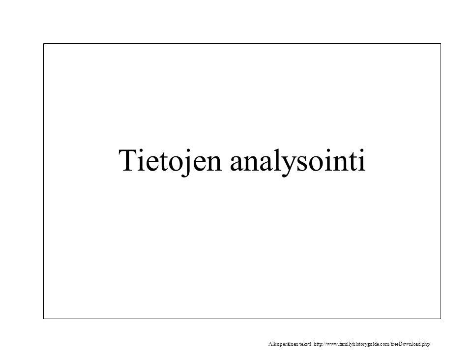 Tietojen analysointi Alkuperäinen teksti: http://www.familyhistoryguide.com/freeDownload.php