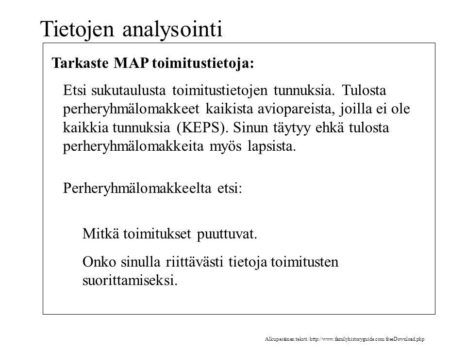 Tietojen analysointi Tarkaste MAP toimitustietoja: