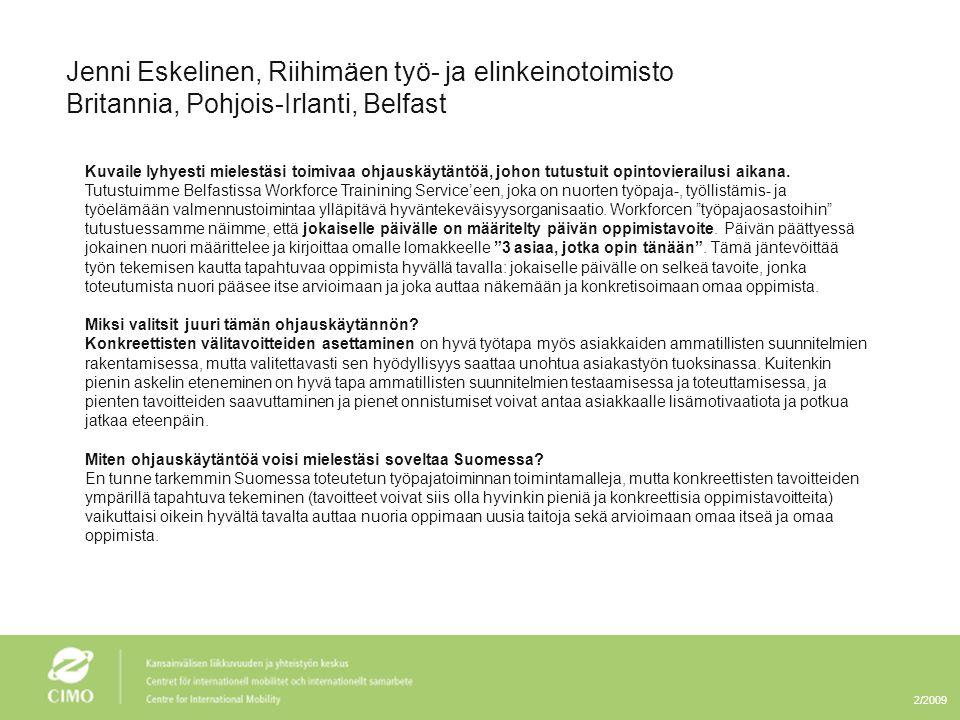 Jenni Eskelinen, Riihimäen työ- ja elinkeinotoimisto
