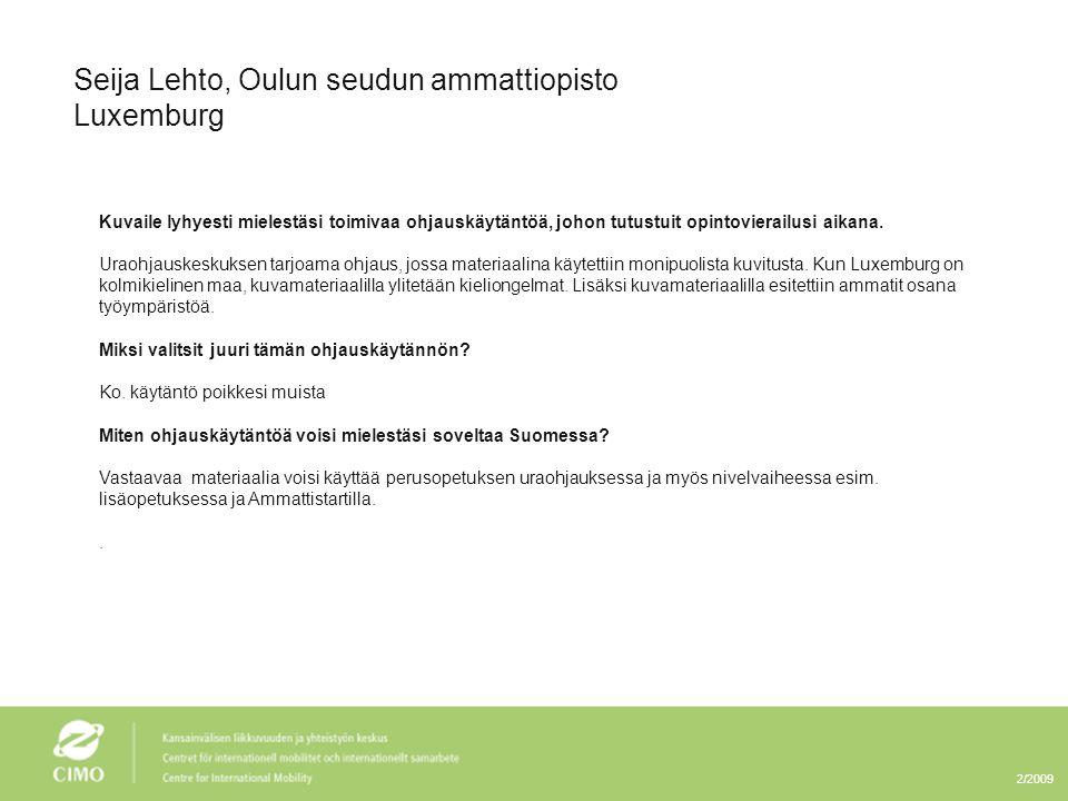 Seija Lehto, Oulun seudun ammattiopisto Luxemburg