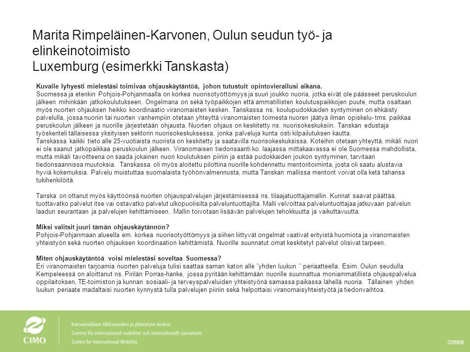 Marita Rimpeläinen-Karvonen, Oulun seudun työ- ja elinkeinotoimisto