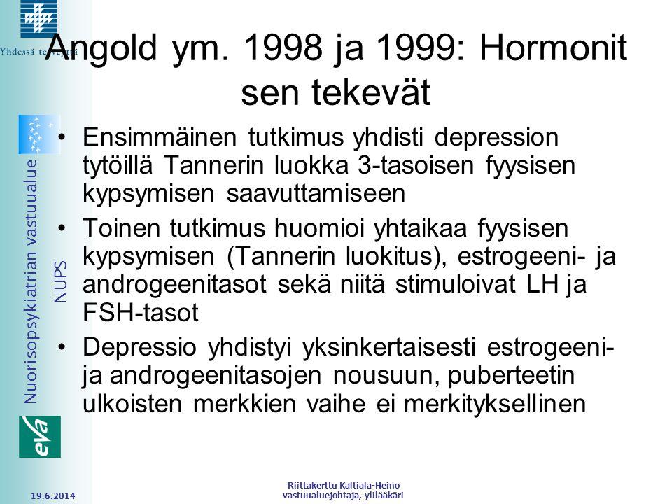 Angold ym. 1998 ja 1999: Hormonit sen tekevät