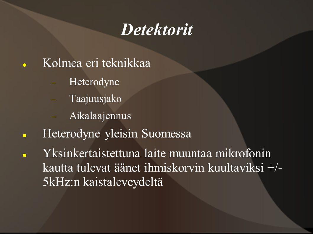Detektorit Kolmea eri teknikkaa Heterodyne yleisin Suomessa