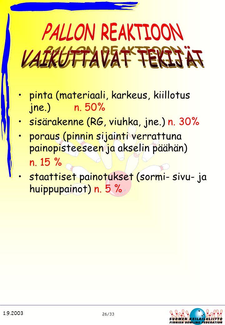 PALLON REAKTIOON VAIKUTTAVAT TEKIJÄT