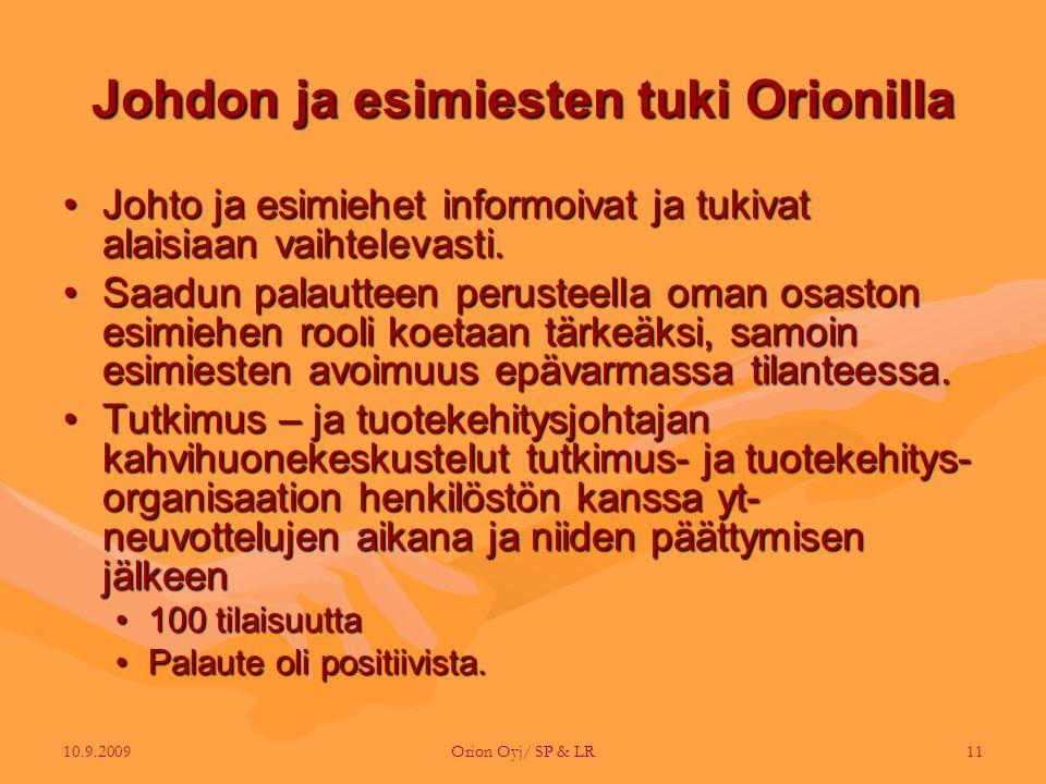 Johdon ja esimiesten tuki Orionilla