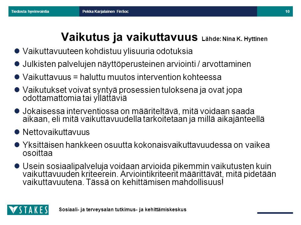 Vaikutus ja vaikuttavuus Lähde: Nina K. Hyttinen