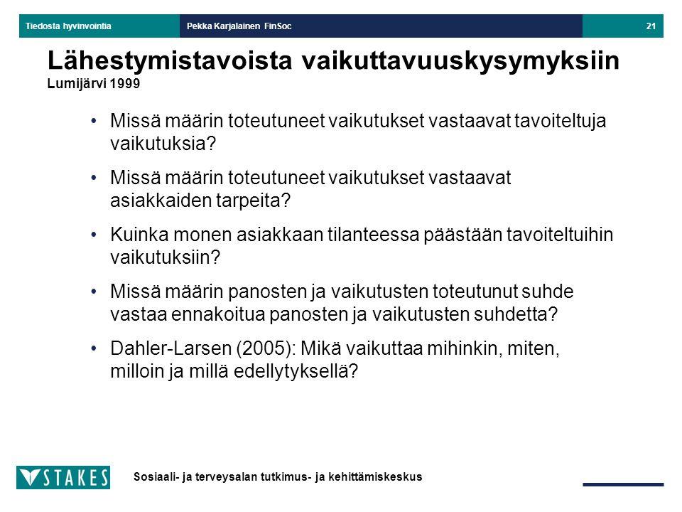 Lähestymistavoista vaikuttavuuskysymyksiin Lumijärvi 1999