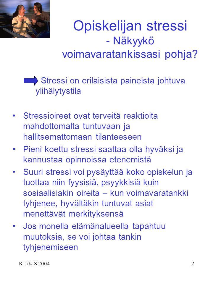 Opiskelijan stressi - Näkyykö voimavaratankissasi pohja