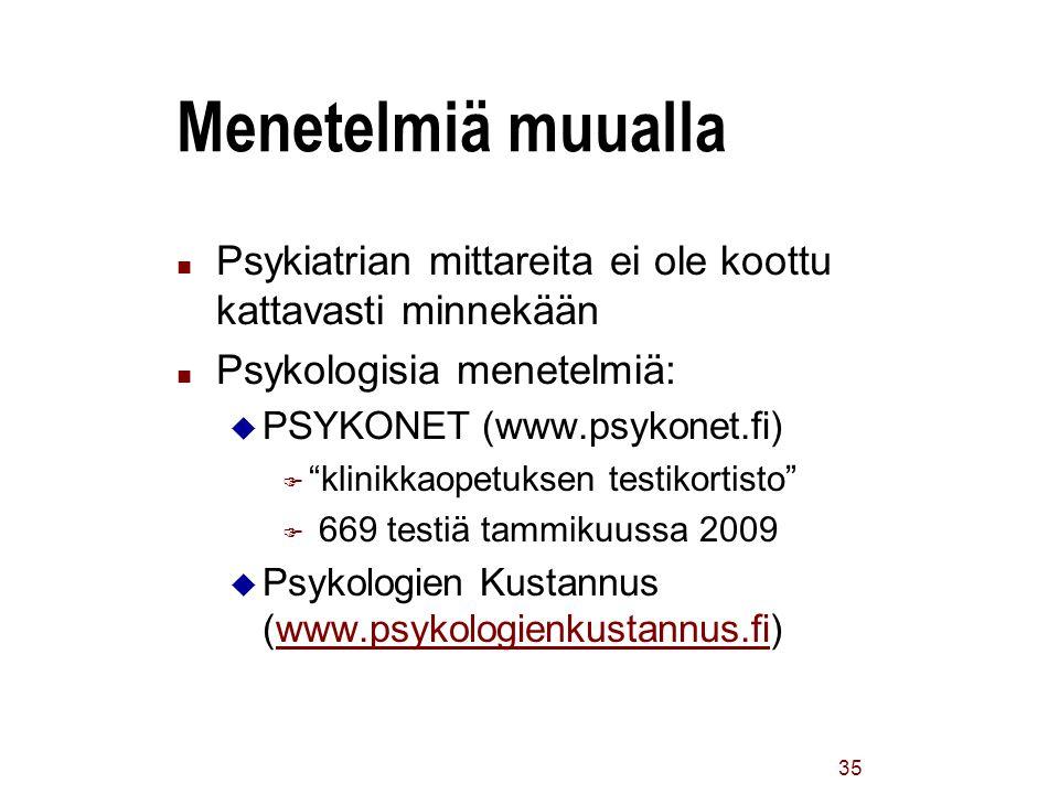 Menetelmiä muualla Psykiatrian mittareita ei ole koottu kattavasti minnekään. Psykologisia menetelmiä: