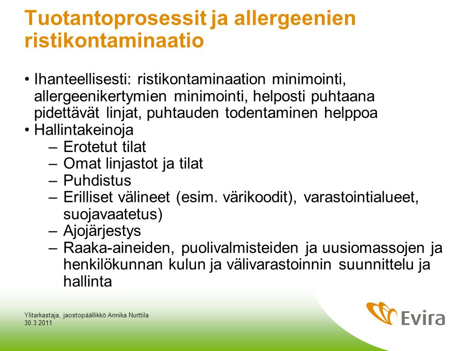 Tuotantoprosessit ja allergeenien ristikontaminaatio