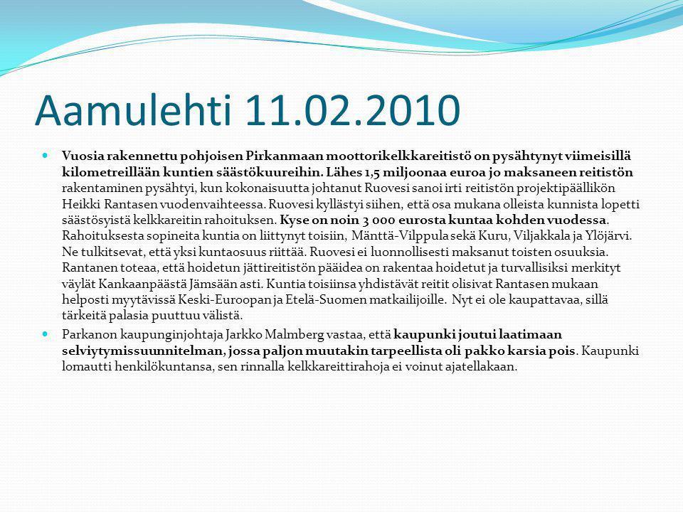 Aamulehti 11.02.2010