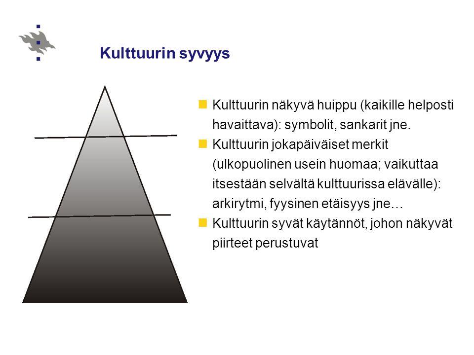 Kulttuurin syvyys Kulttuurin näkyvä huippu (kaikille helposti havaittava): symbolit, sankarit jne.