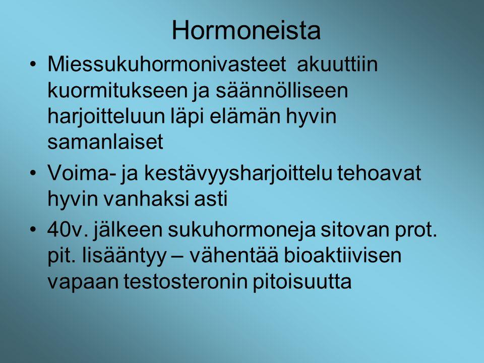 Hormoneista Miessukuhormonivasteet akuuttiin kuormitukseen ja säännölliseen harjoitteluun läpi elämän hyvin samanlaiset.