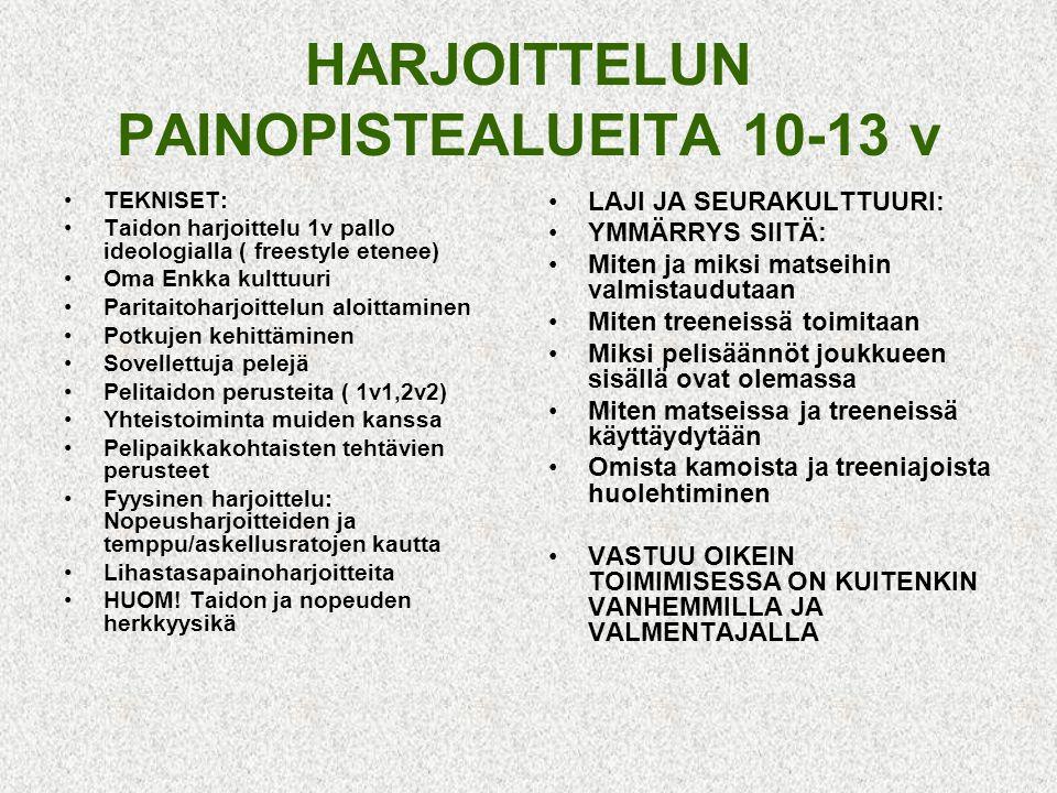 HARJOITTELUN PAINOPISTEALUEITA 10-13 v