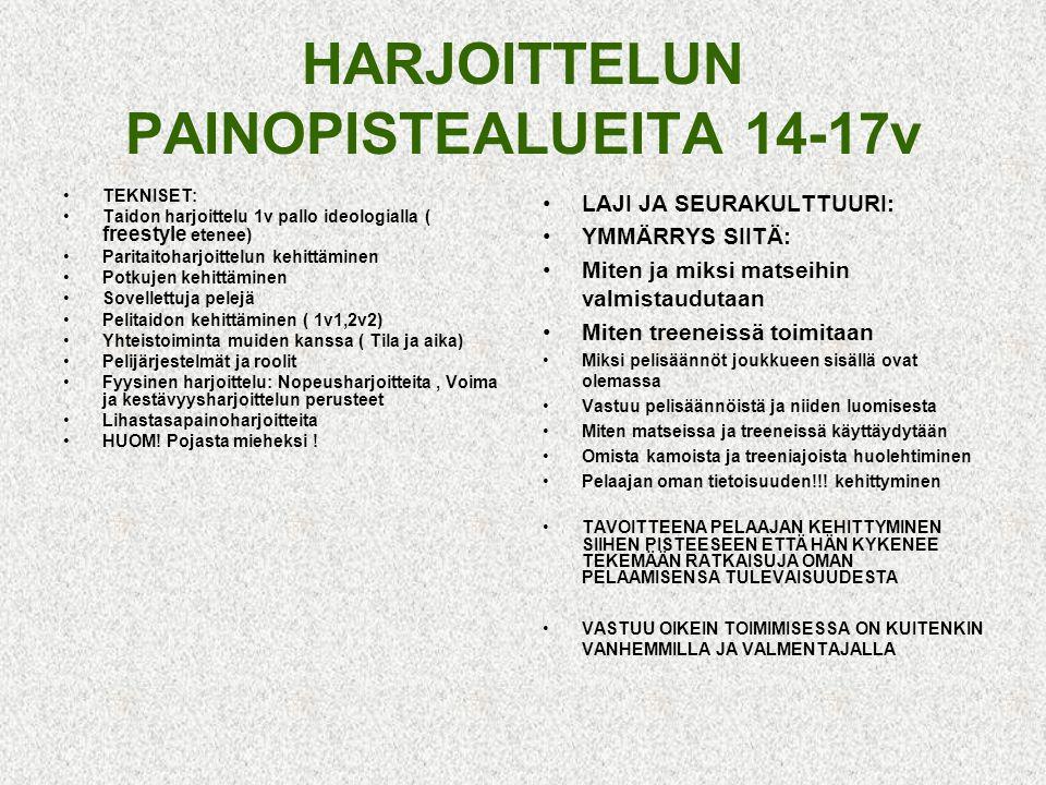 HARJOITTELUN PAINOPISTEALUEITA 14-17v
