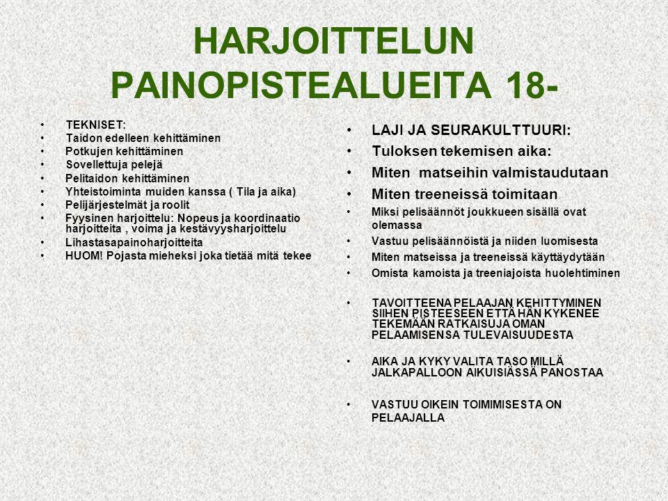 HARJOITTELUN PAINOPISTEALUEITA 18-