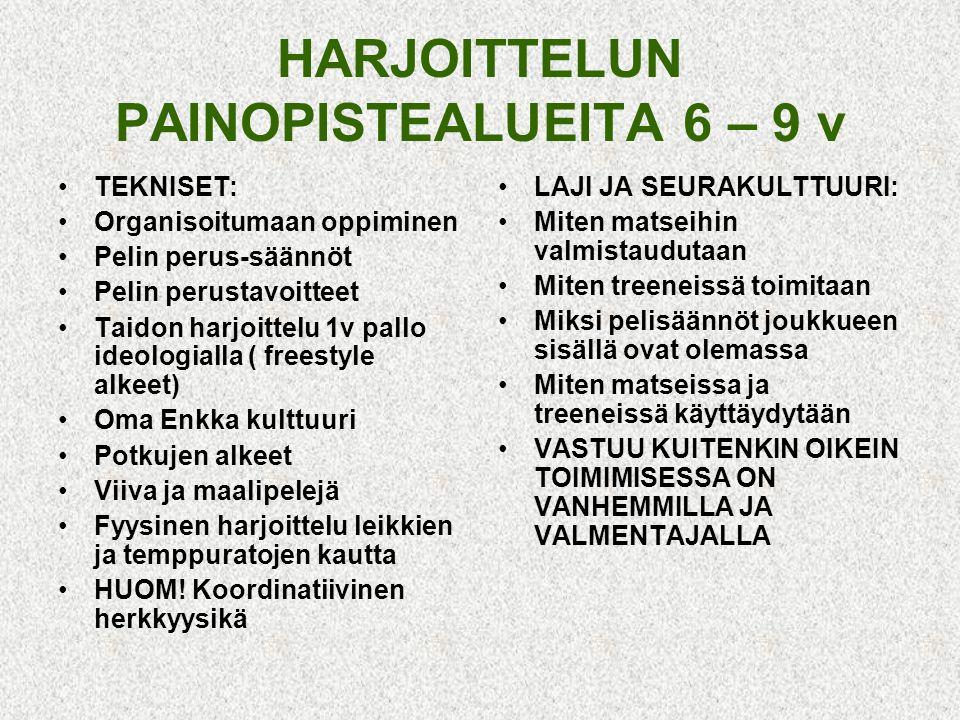 HARJOITTELUN PAINOPISTEALUEITA 6 – 9 v
