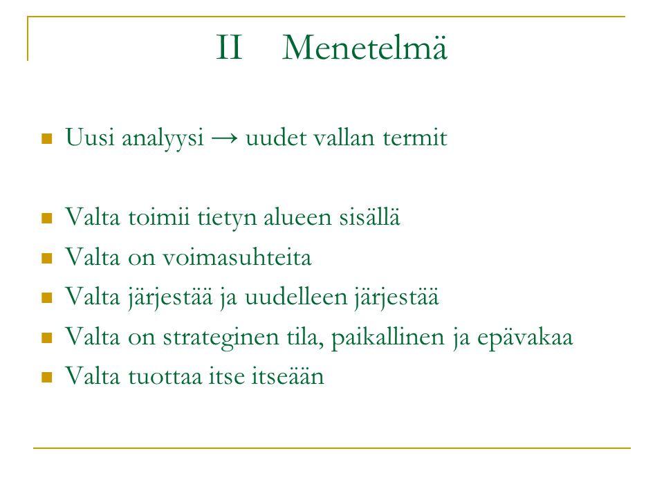 II Menetelmä Uusi analyysi → uudet vallan termit