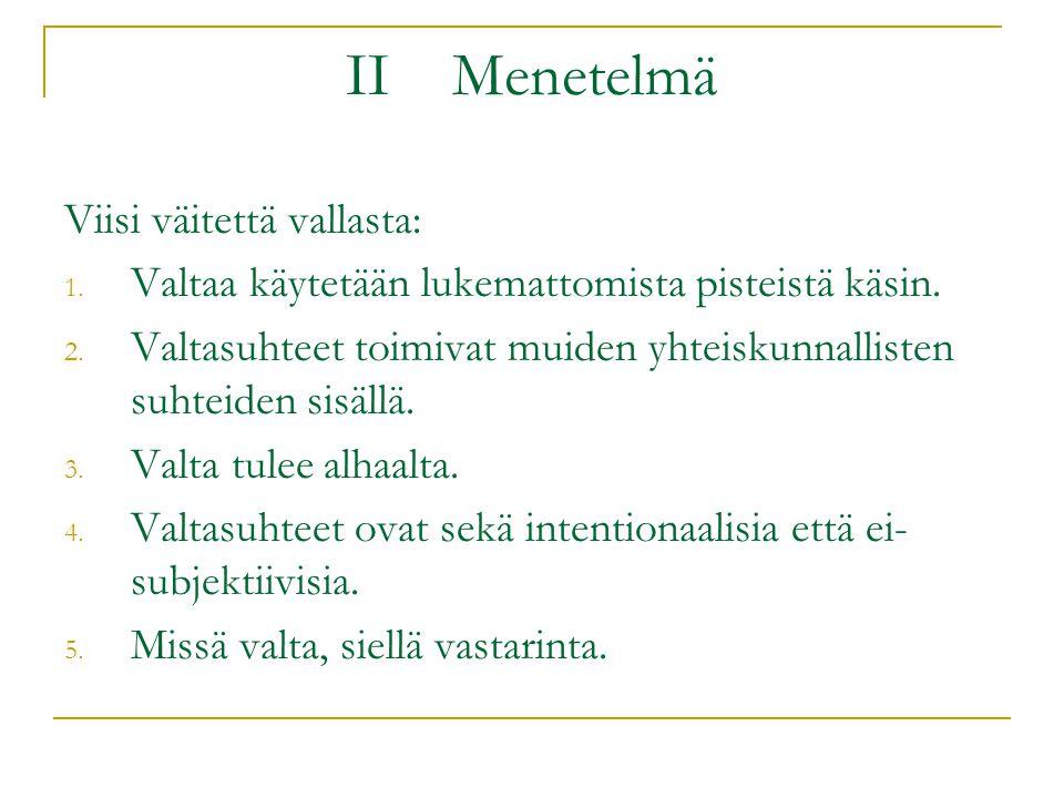 II Menetelmä Viisi väitettä vallasta: