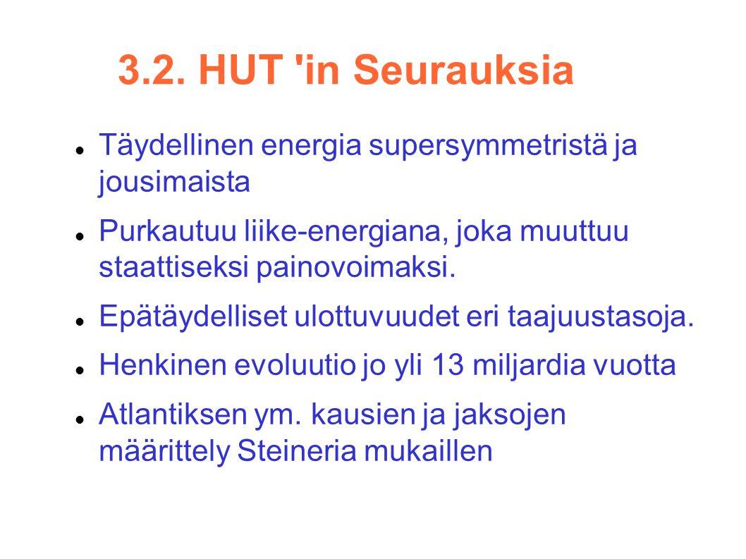 3.2. HUT in Seurauksia Täydellinen energia supersymmetristä ja jousimaista. Purkautuu liike-energiana, joka muuttuu staattiseksi painovoimaksi.