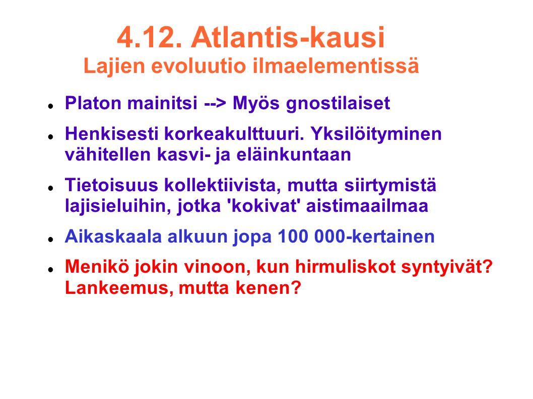 4.12. Atlantis-kausi Lajien evoluutio ilmaelementissä