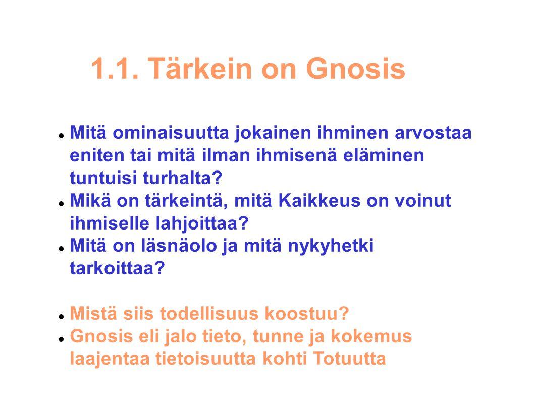 1.1. Tärkein on Gnosis Mitä ominaisuutta jokainen ihminen arvostaa eniten tai mitä ilman ihmisenä eläminen tuntuisi turhalta
