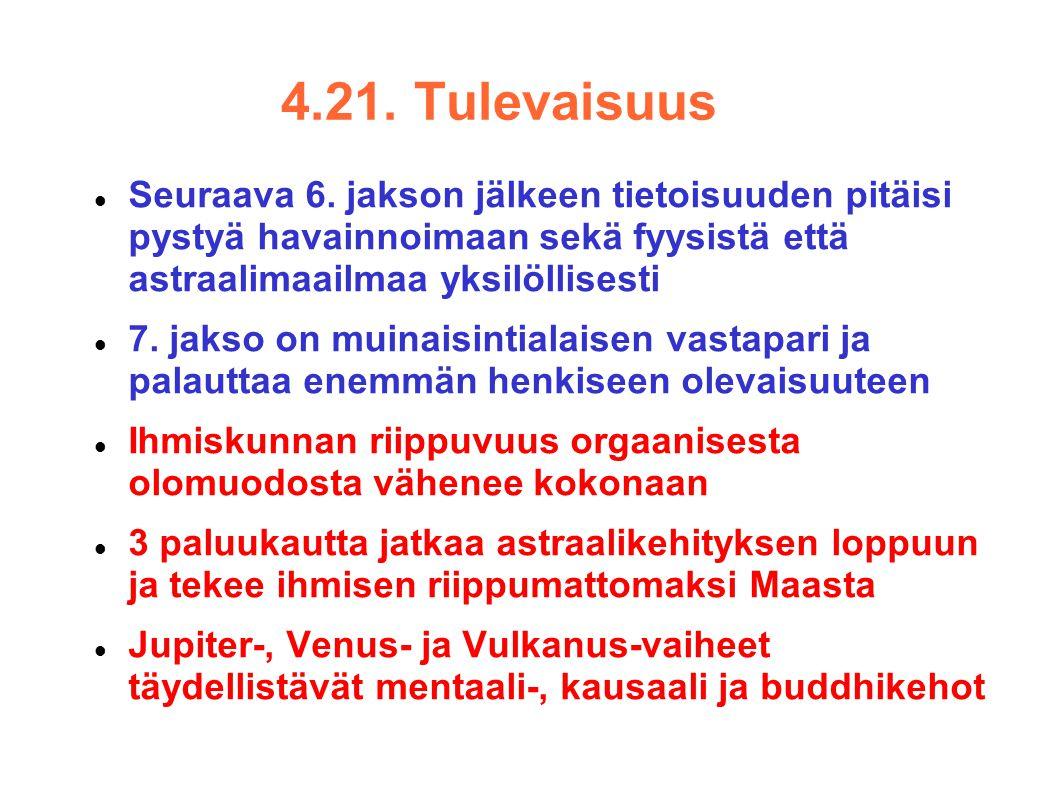 4.21. Tulevaisuus Seuraava 6. jakson jälkeen tietoisuuden pitäisi pystyä havainnoimaan sekä fyysistä että astraalimaailmaa yksilöllisesti.